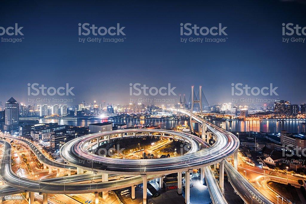 beautiful nanpu bridge at dusk ,crosses huangpu river ,shanghai stock photo