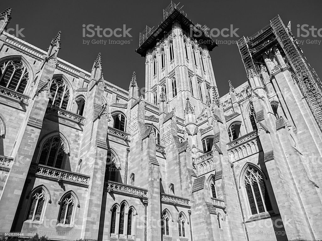 Beautiful National Cathedral Under Repair stock photo