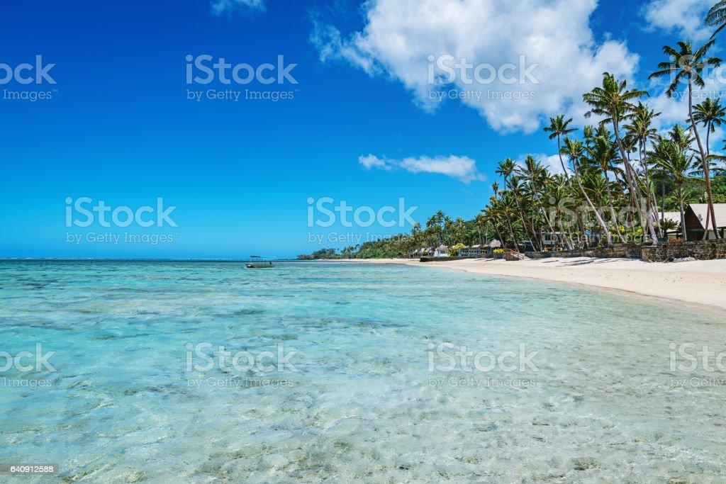 Beautiful Natural Beach Fiji Island stock photo