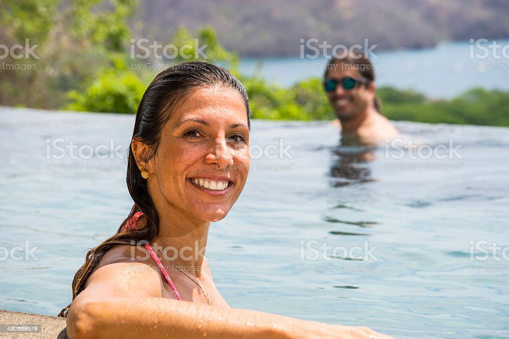 Beautiful, natural, Latin American woman. stock photo