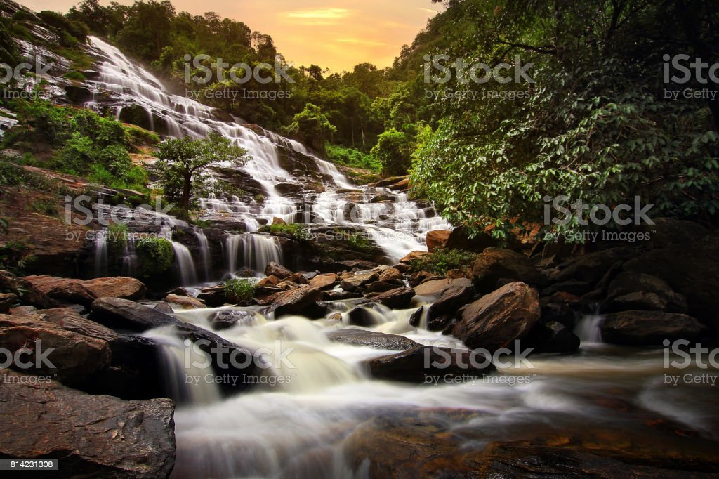 Beautiful natural of Mae Ya Waterfall at Chiang Mai province in Thailand , is a beautiful location and very popular for photographers and tourists. Traveling and recreation Concept stock photo