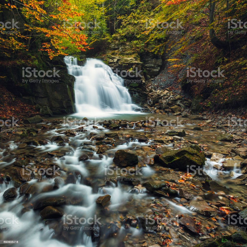Beautiful natural waterfall autumn photography stock photo