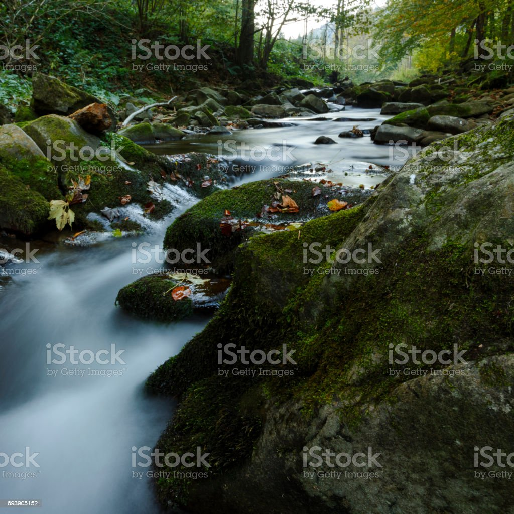 Beautiful natural waterfall in Bieszczady stock photo