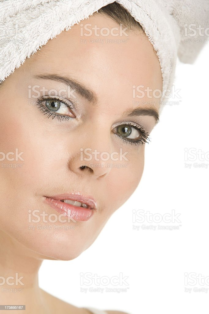 Beautiful natural woman with towel stock photo