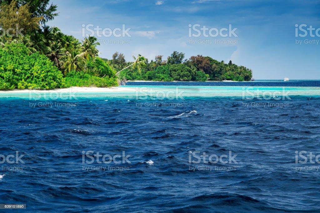 Beautiful nature landscape of tropical island at daytime, Maldives stock photo