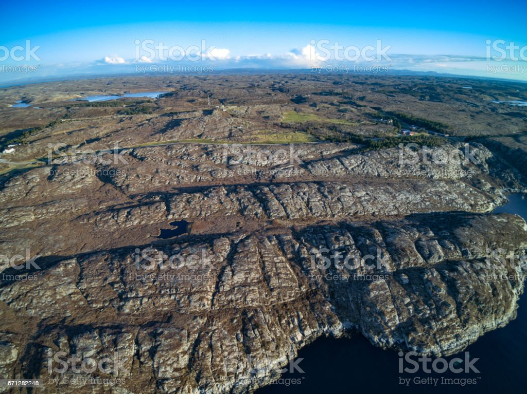 Beautiful Nature Norway natural landscape, aerial view stock photo
