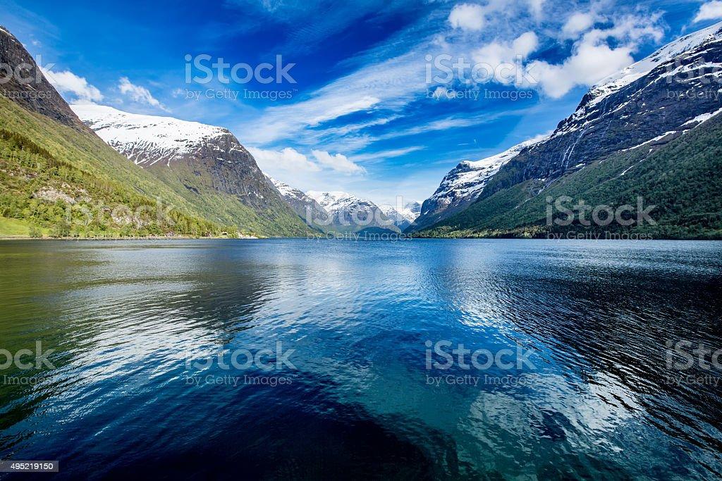 Beautiful Nature Norway. stock photo