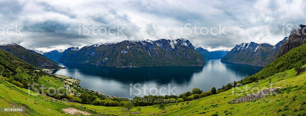 Beautiful Nature Norway Stegastein Lookout. stock photo