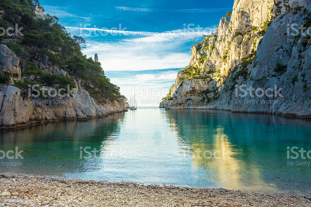 Beautiful nature of Calanques on the azure coast of France. stock photo