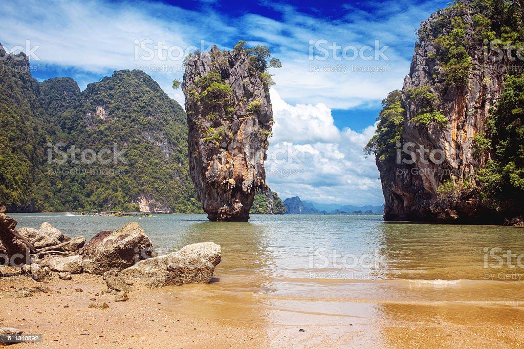 Beautiful nature of Thailand. James Bond island. Marine landscape, natural stock photo