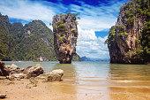 Beautiful nature of Thailand. James Bond island. Marine landscape, natural
