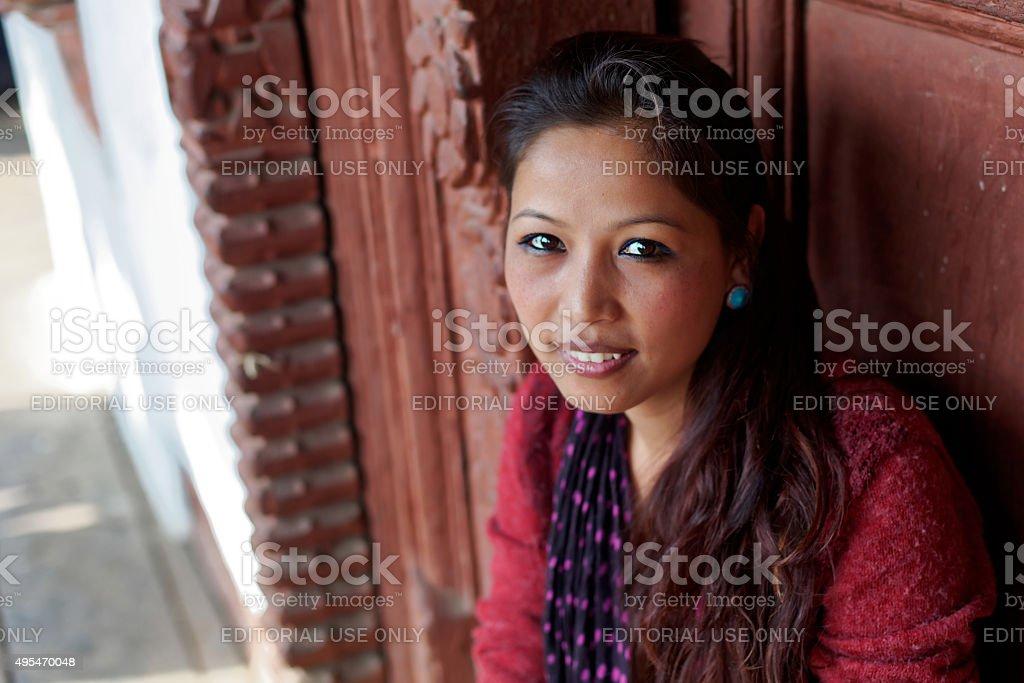 Beautiful nepalese girl stock photo
