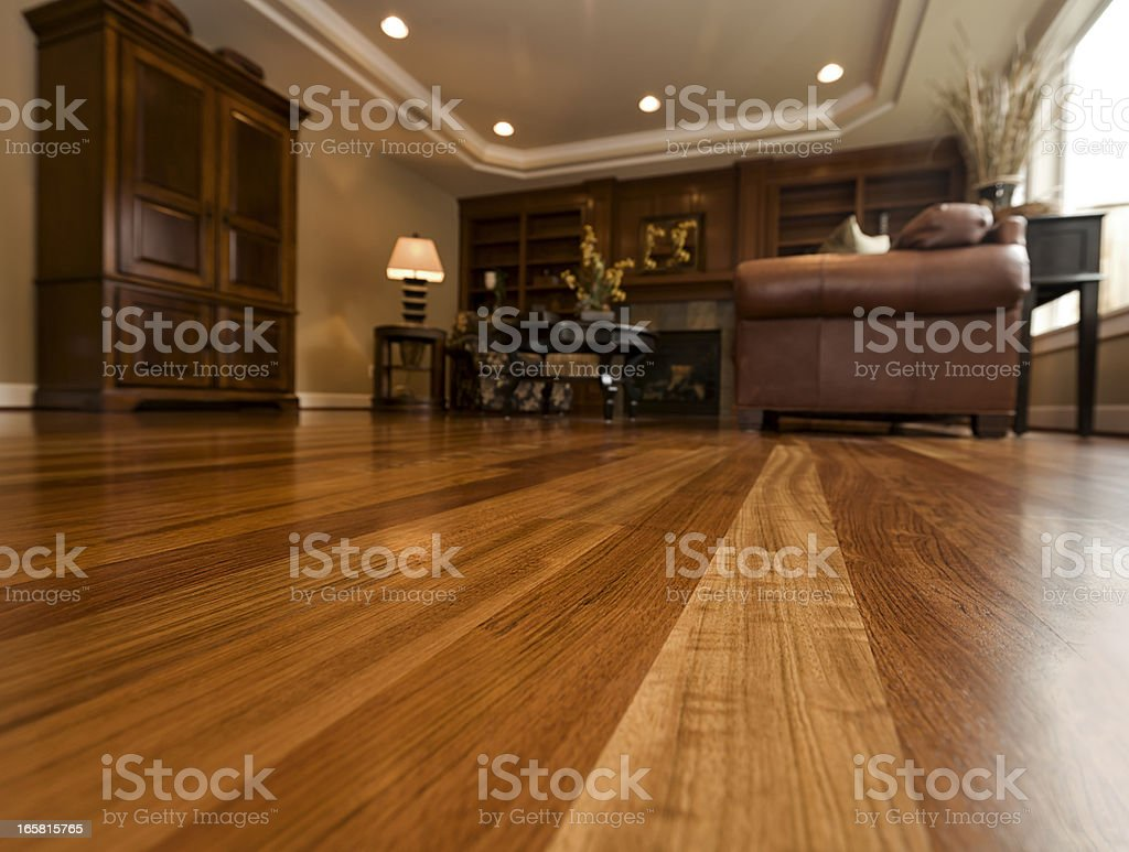Beautiful New Hardwood floors home interior copy space stock photo
