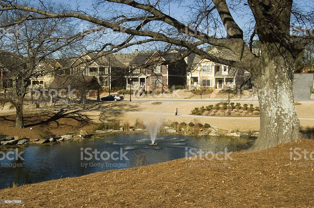 Beautiful New Homes near park royalty-free stock photo