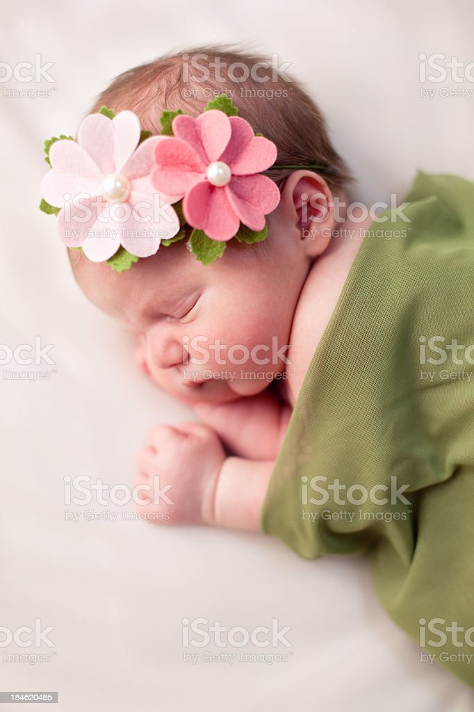 Beautiful Newborn Baby Girl Swaddled in Soft, Green Blanket stock photo