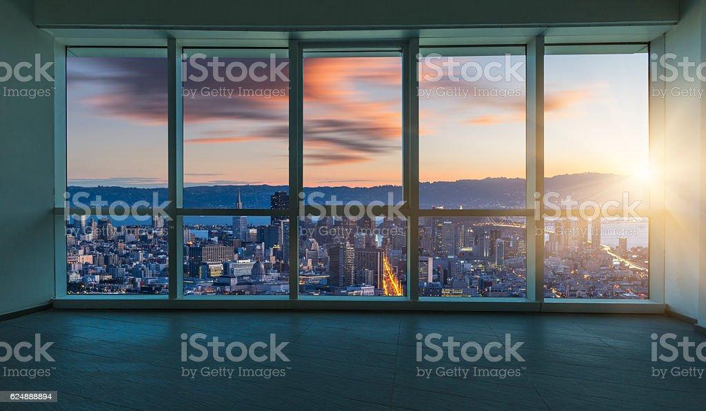 Beautiful night cityscape outside the windows, san francisco stock photo