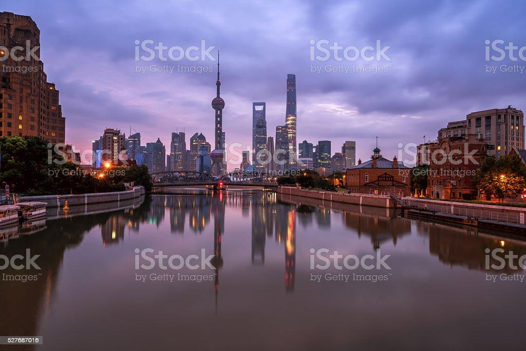 beautiful night in shanghai,view from suzhou river stock photo