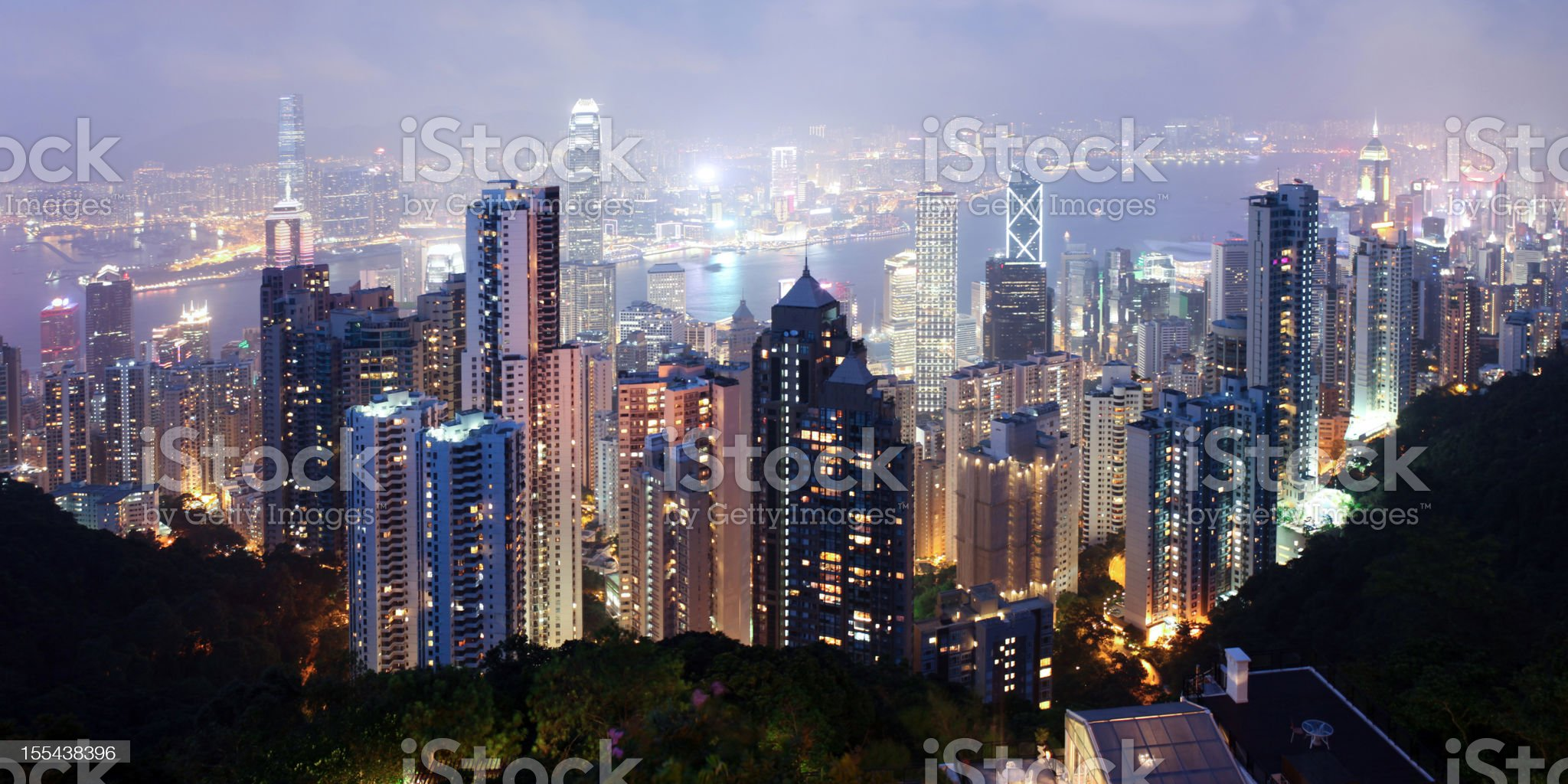 Beautiful Night Scene of Hong Kong Cityscape - XXXLarge royalty-free stock photo
