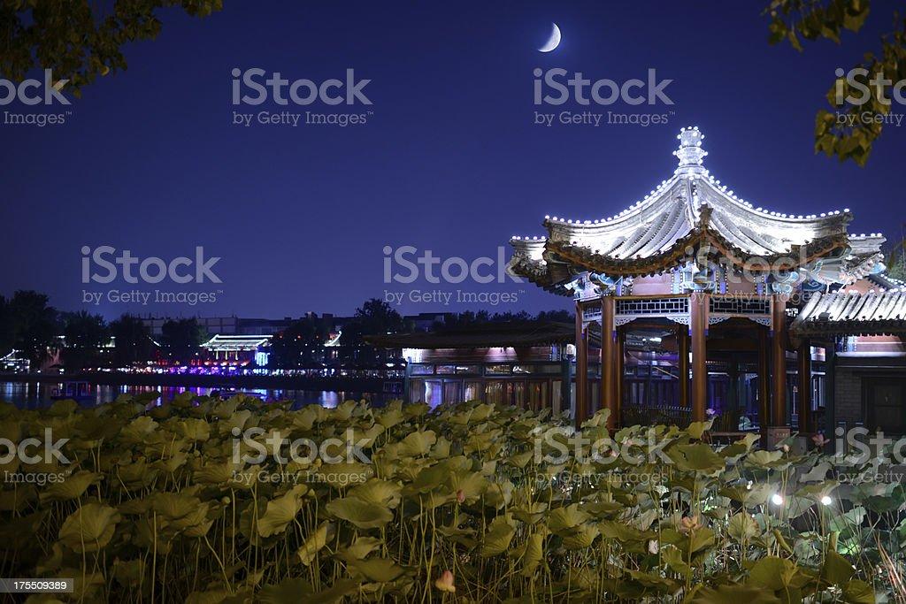 Beautiful Night Scene of Houhai Lake - XXXLarge stock photo