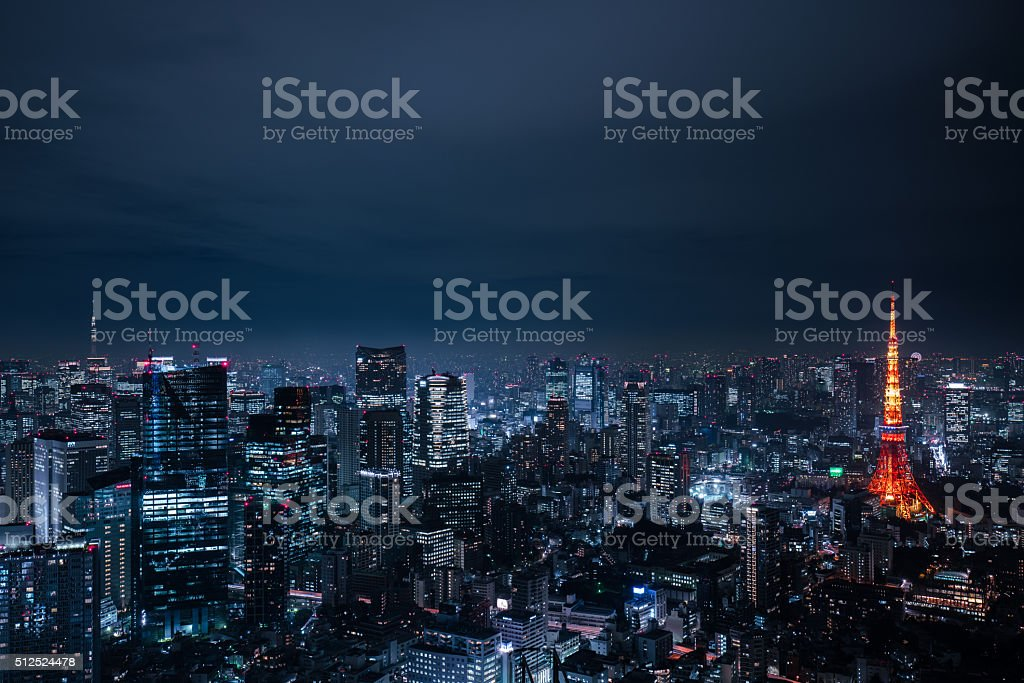 beautiful night scene of  tokyo skyline stock photo