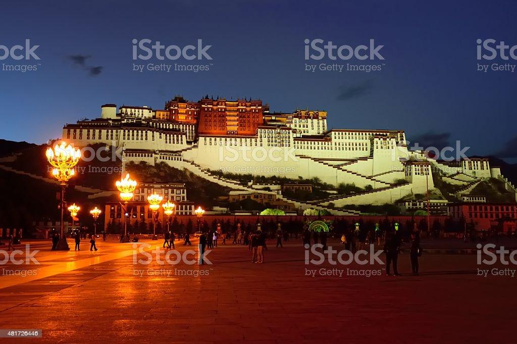 Beautiful night scenery of the Potala palace 01 stock photo