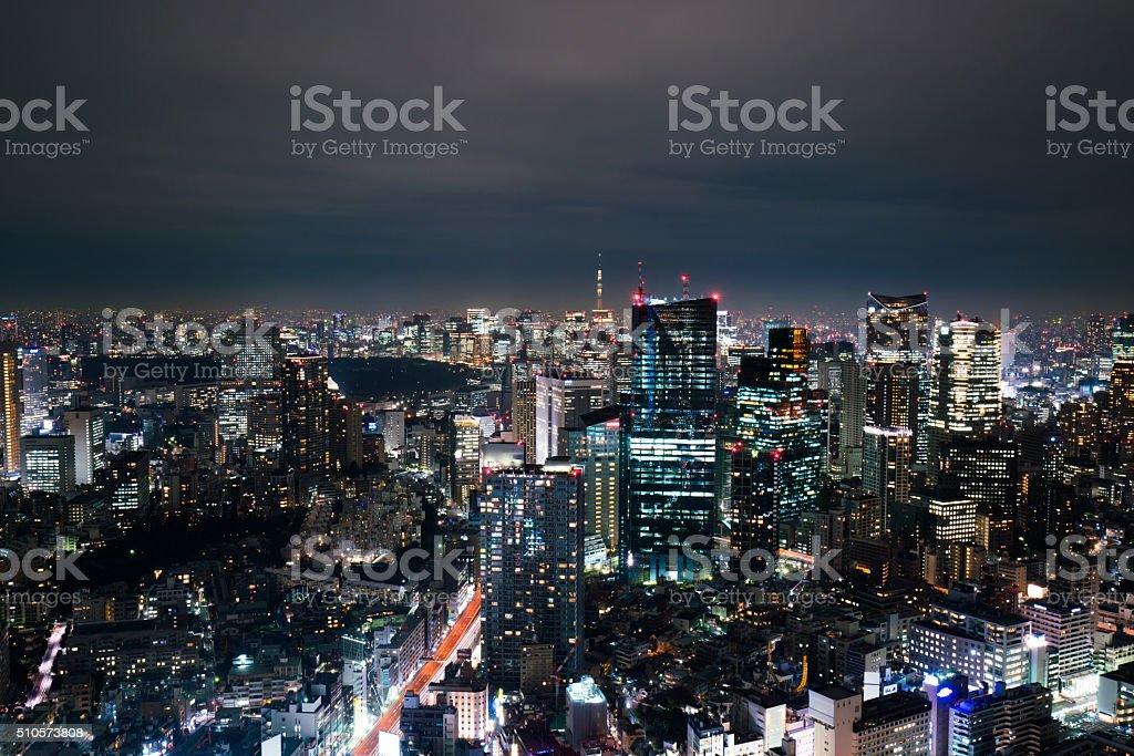 beautiful night scnen of  tokyo skyline stock photo