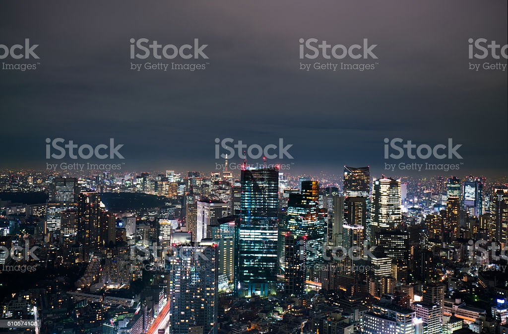beautiful night scnen of  tokyo skyline stock photo