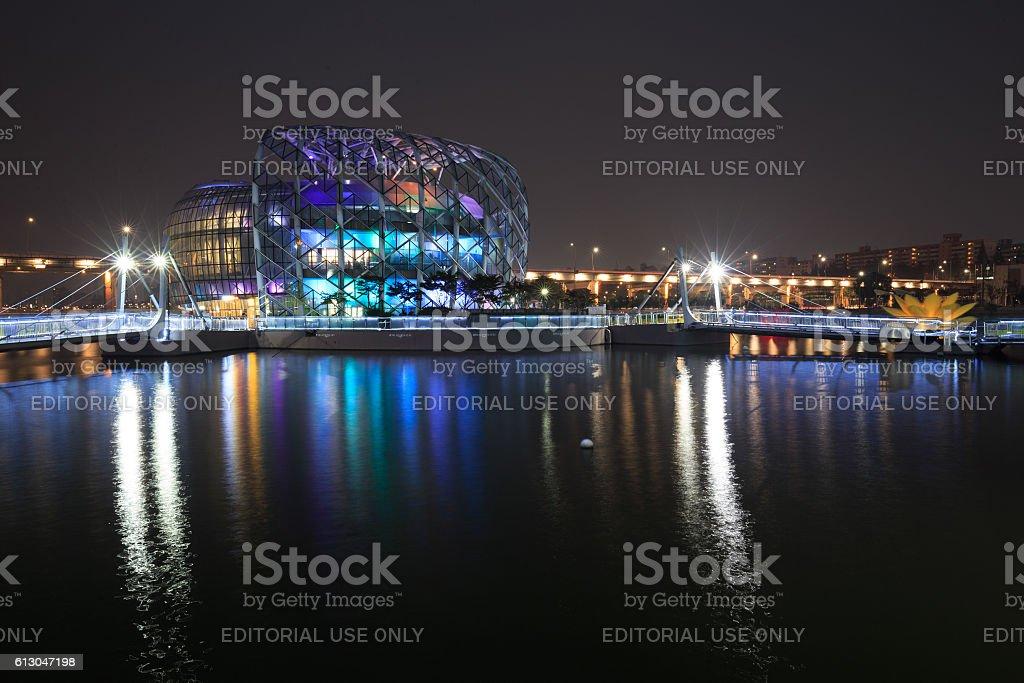Beautiful night view at Seoul Floating Island nearly Banpo bridge. royalty-free stock photo