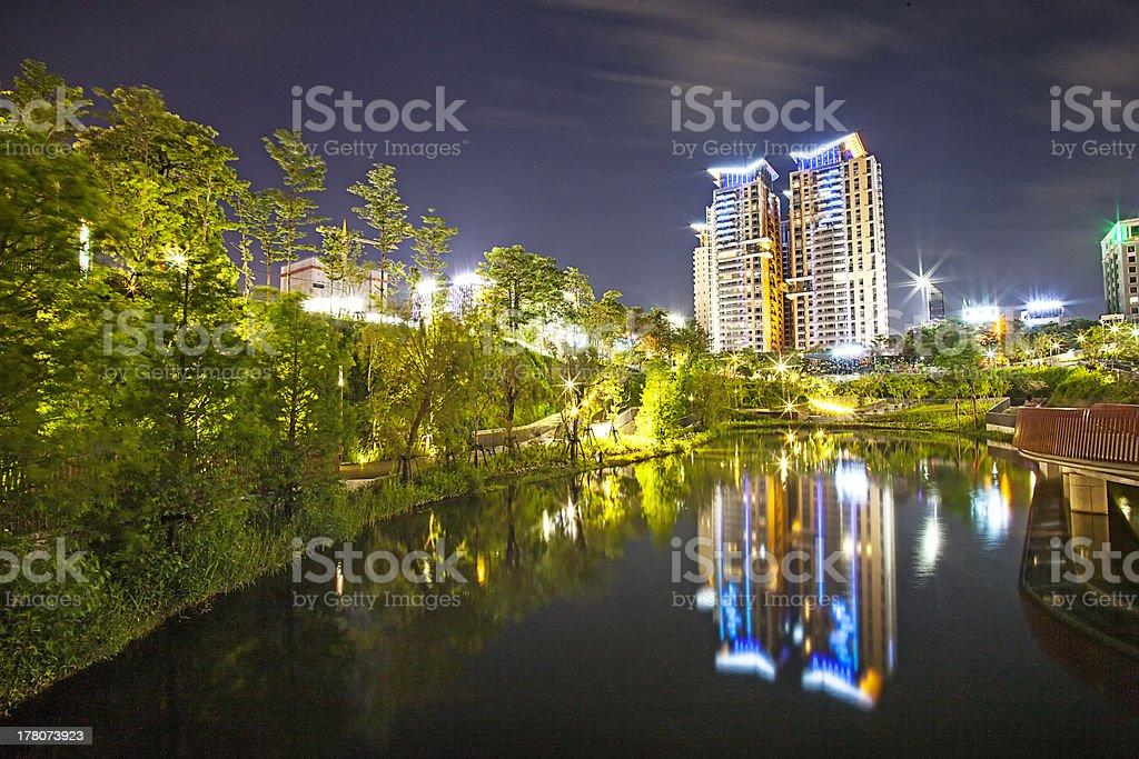 Beautiful night view of Taichun city royalty-free stock photo