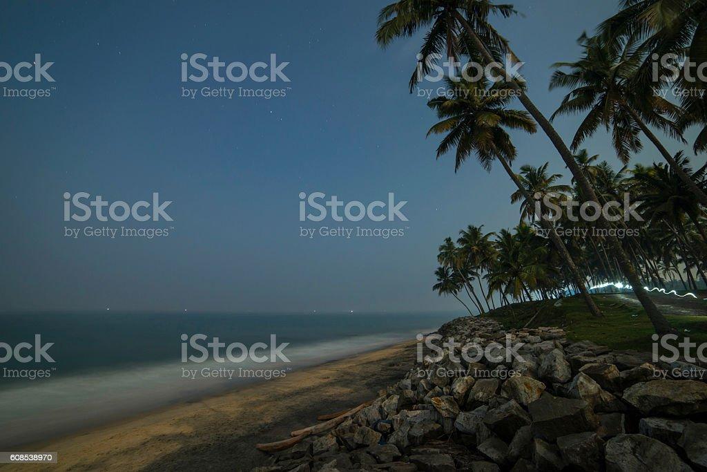 Beautiful night view of the coastline stock photo