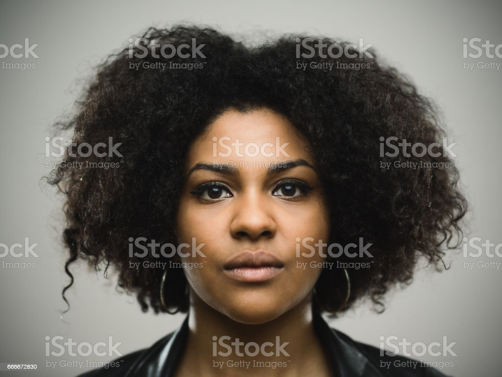 Beautiful north american woman with curly hair stock photo