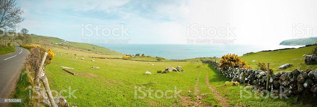 Beautiful Northern Irish coastline Panorama between Belfast and Derry stock photo