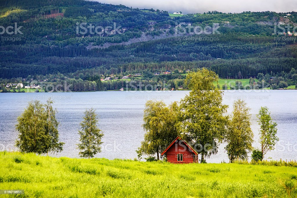 Beautiful Norwegian landscape with a house stock photo