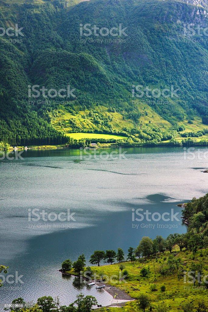 Beautiful Norwegian landscape with water stock photo