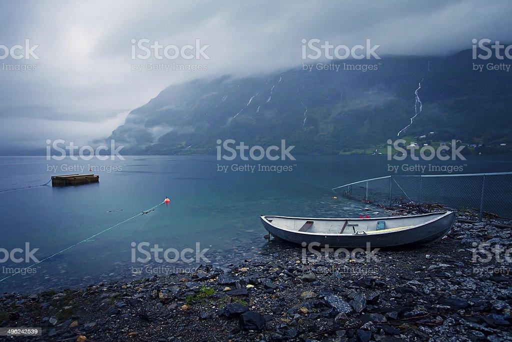 Beautiful Norwegian Summer Panorama Mountain Landscape near Trolltunga, Norway stock photo