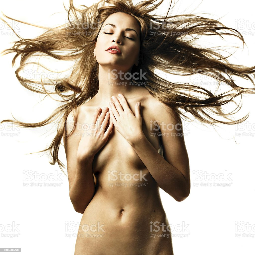 Beautiful nude woman with magnificent hair royalty-free stock photo