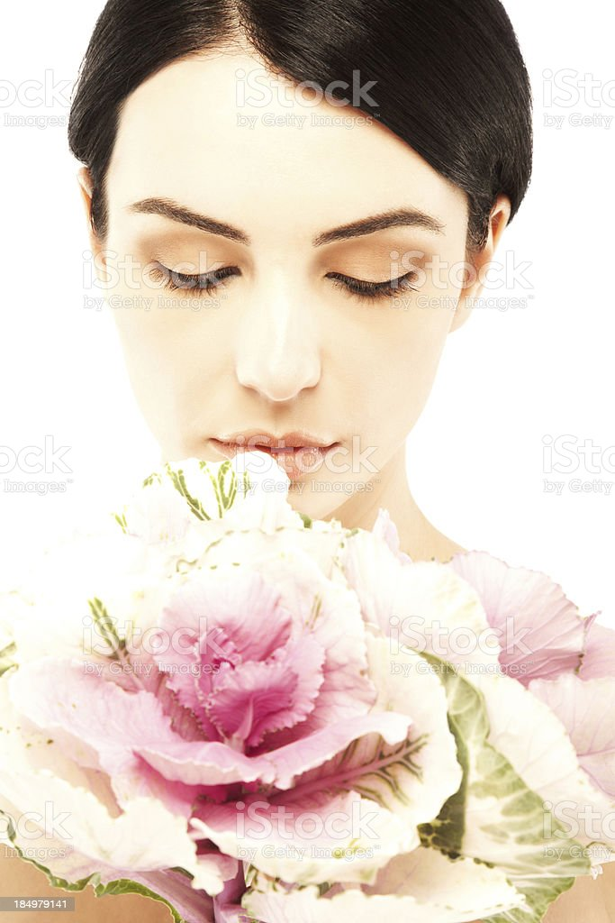 Beautiful nude young woman with pink flower royalty-free stock photo