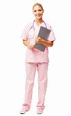 Beautiful Nurse Holding Clipboard