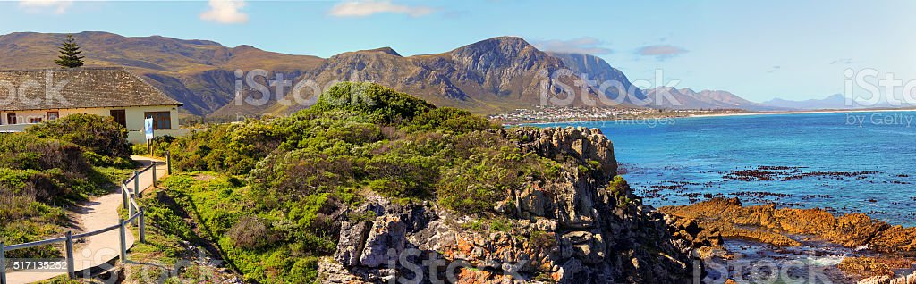 Beautiful ocean and coast landscape in Hermanus, South Africa stock photo