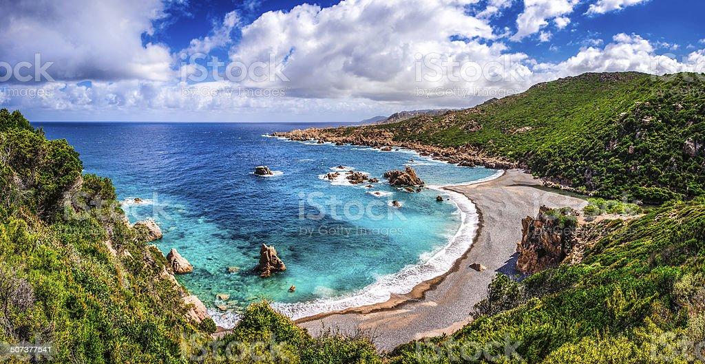 Beautiful ocean coastline in Costa Paradiso, Sardinia stock photo