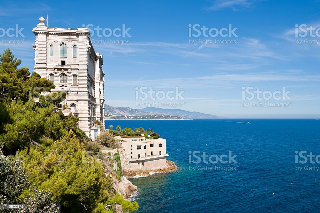 Beautiful ocean view of the famous Museum of Monaco stock photo
