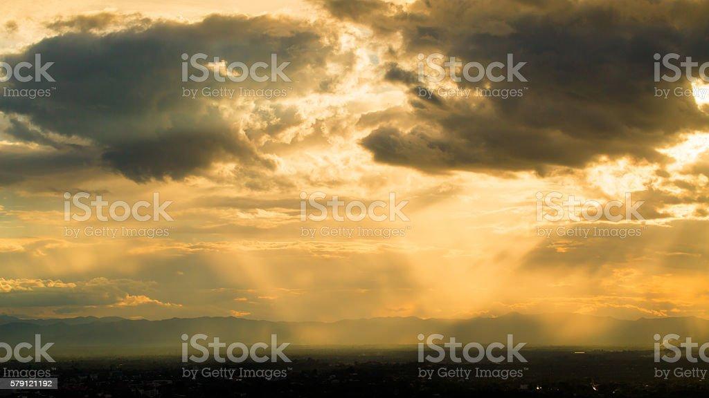 Beautiful Of Bright Horizon Sunset Background. stock photo