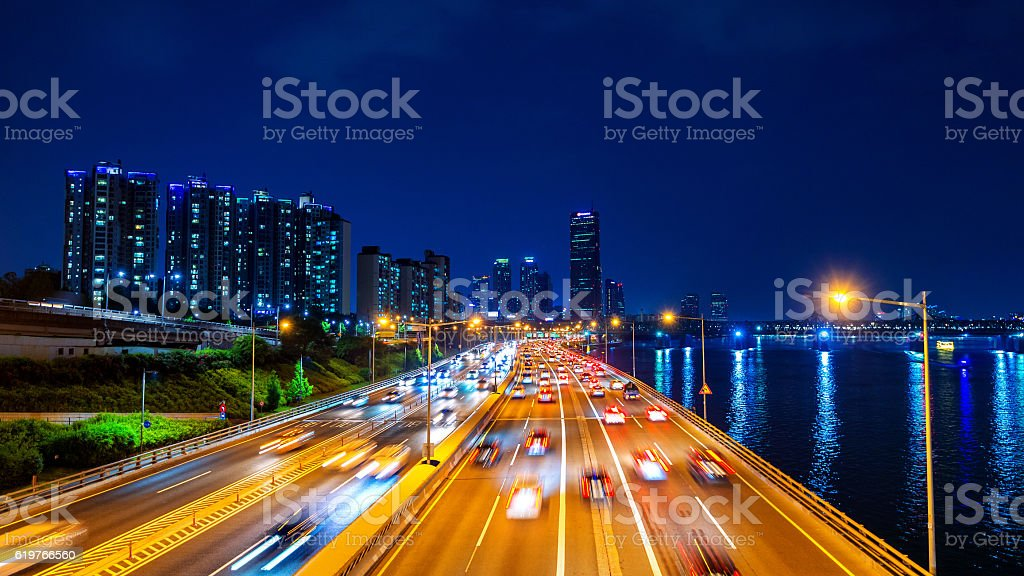 Beautiful of traffic in Seoul at night and cityscape. stock photo