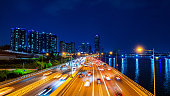 Beautiful of traffic in Seoul at night and cityscape.