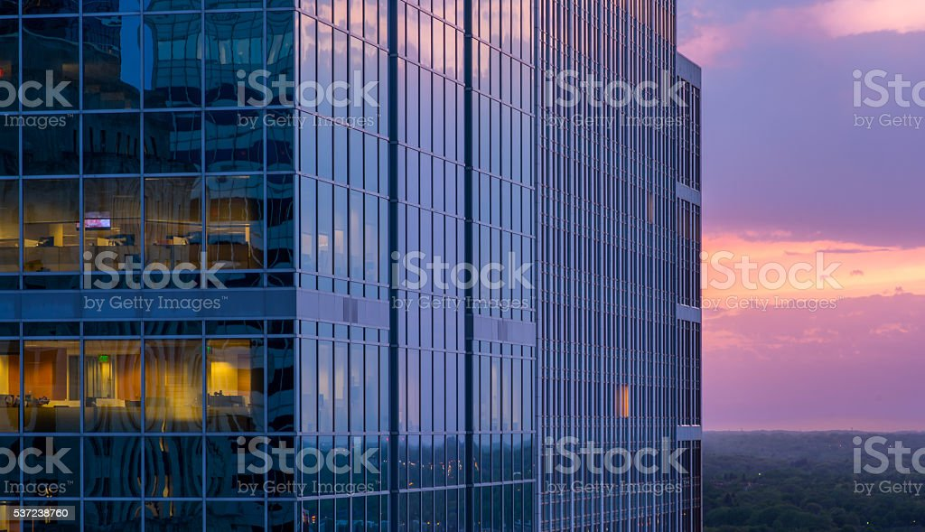 Beautiful Office Building Sunset stock photo
