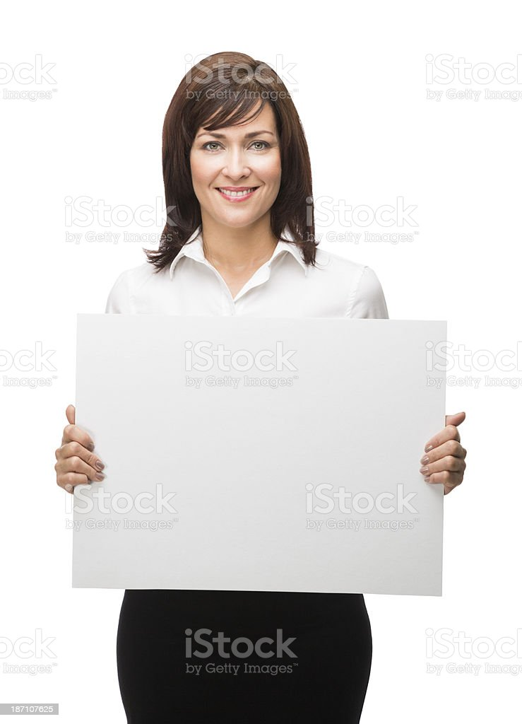 Beautiful office worker holding blank sign royalty-free stock photo