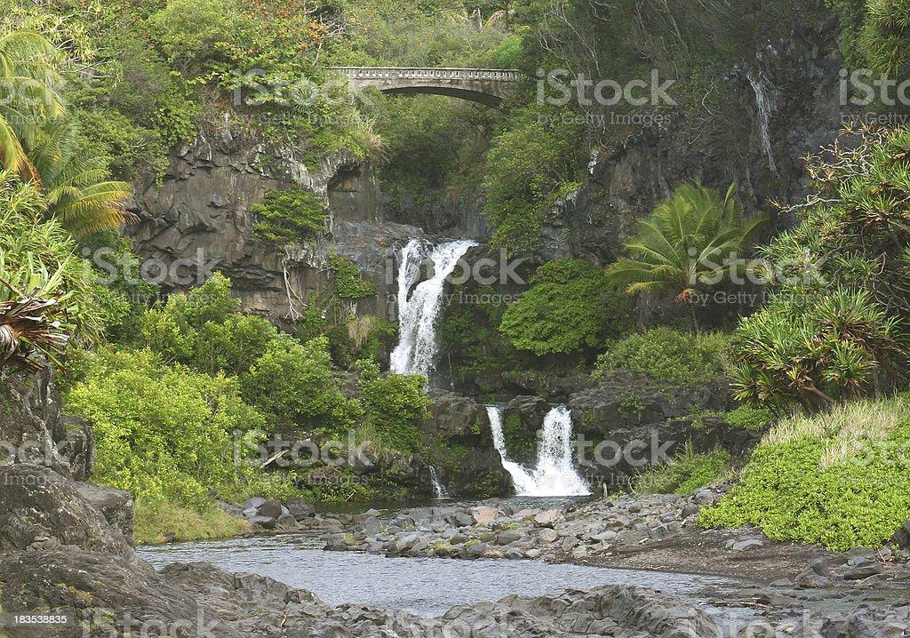 Beautiful Oheo Gulch Hana Maui Hawaii Waterfall royalty-free stock photo