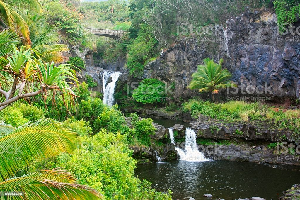 Beautiful Oheo Gulch Hana Maui Hawaii Waterfall stock photo