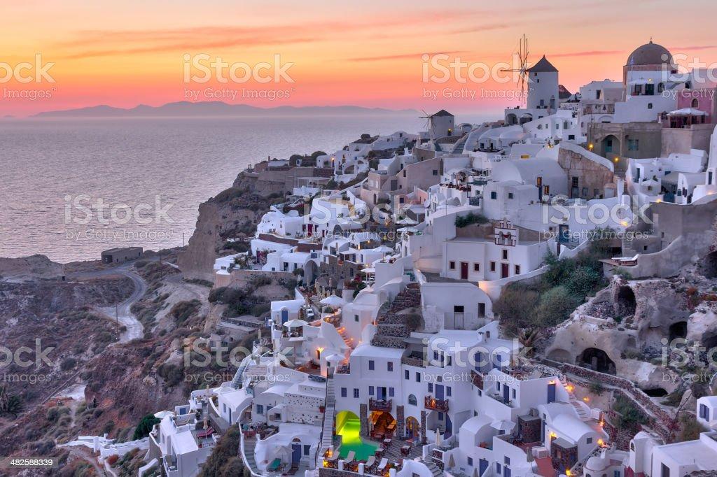 Beautiful Oia village sunset in Santorini stock photo