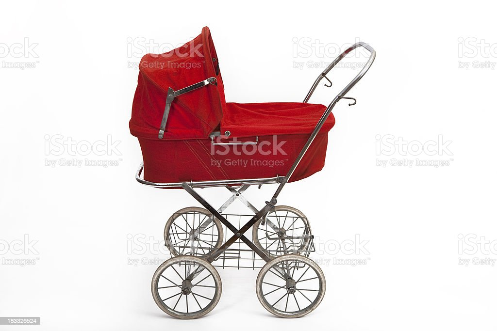 Beautiful old baby stroller stock photo